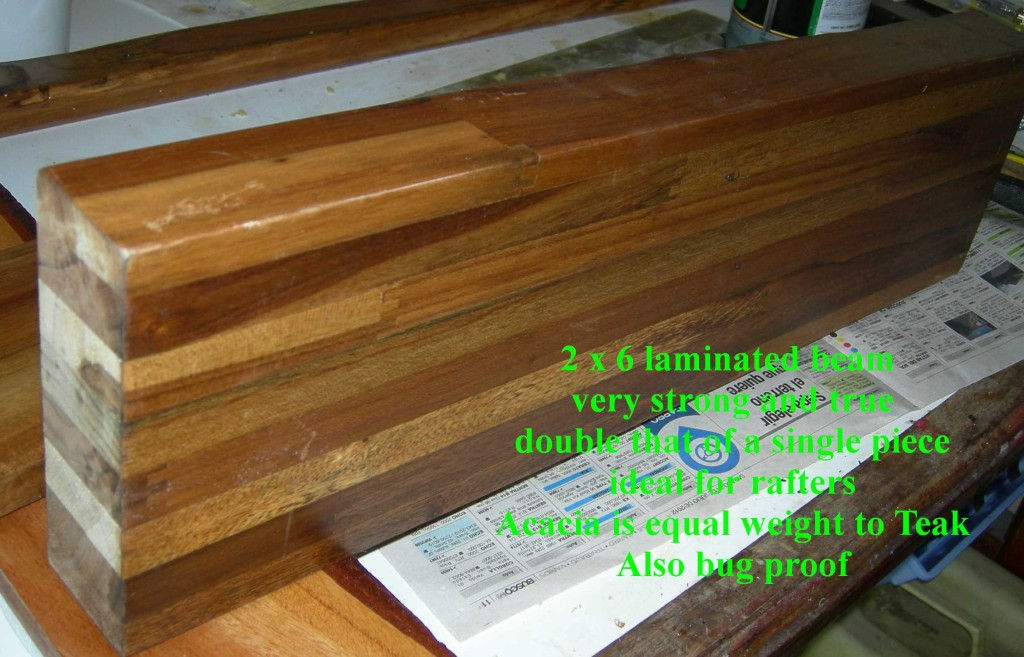 "Laminated Beam 8 Ply 2"" x 6"" Acacia"