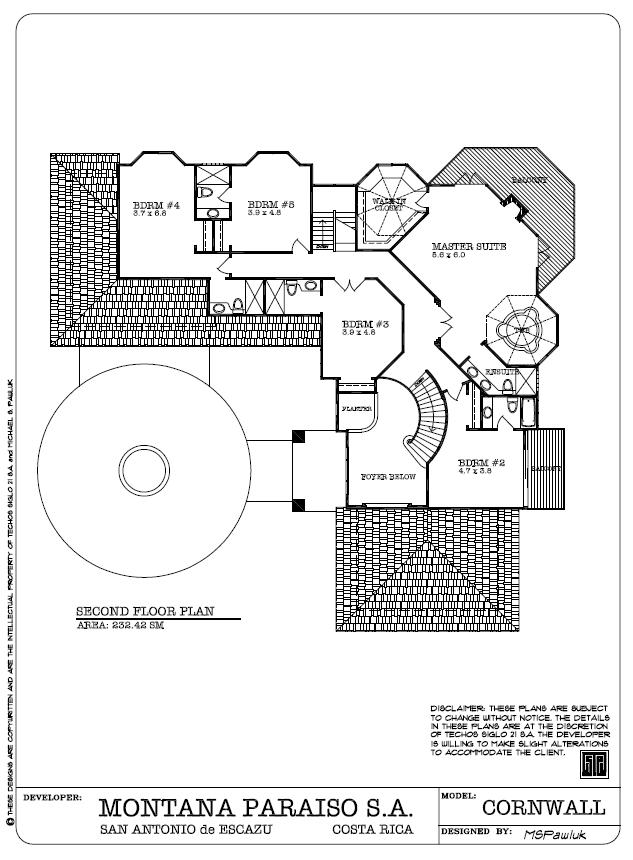 Cornwall Second Floor Plan - Segundo Piso Plano