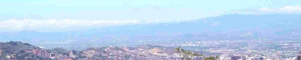 Vista con Escazu abajo hasta Volcan Barva en distancia, view over Escazu with Volcano Barva in the distance, Montaña Paraiso, Escazu, Costa Rica