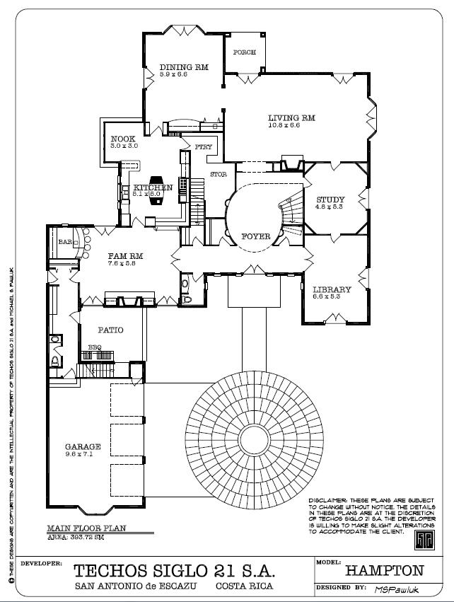Hampton main Floor Plan - Planta Principal, Montaña Paraiso, San Antonio de Escazu, Costa Rica