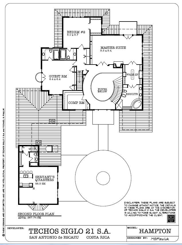 Hampton Second Floor Plan - Planta Ariba, Escazu Costa Rica