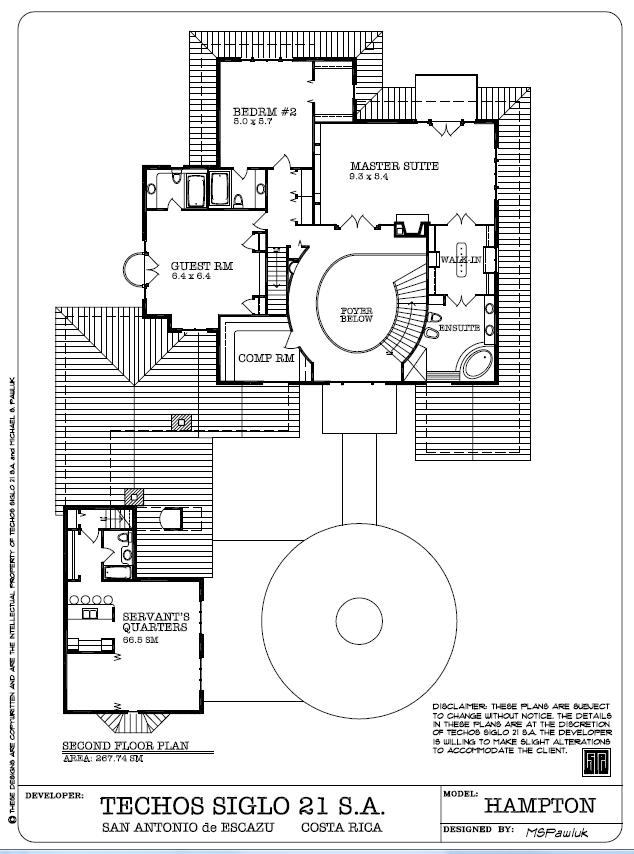 Hampton Second Floor Plan - Planta Ariba, Escazu Costa Rica