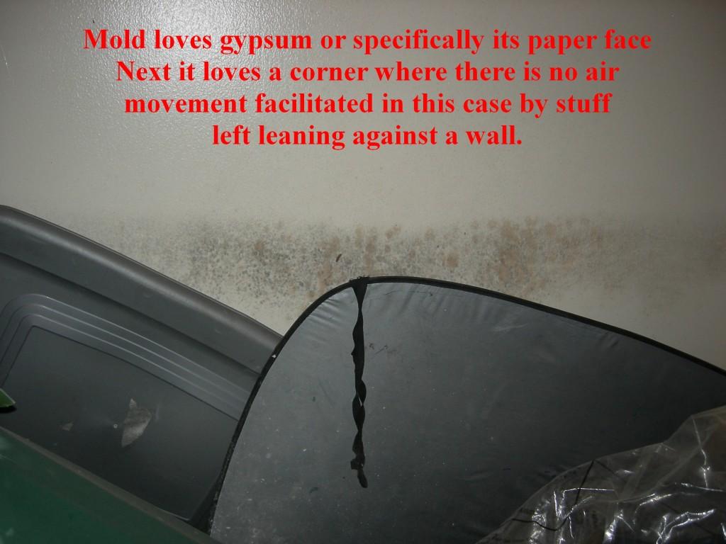 Mold on drywall where there was little air circulation Hongos en gypsum sin ventilacion, Montaña Paraiso, Escazu, Costa Rica