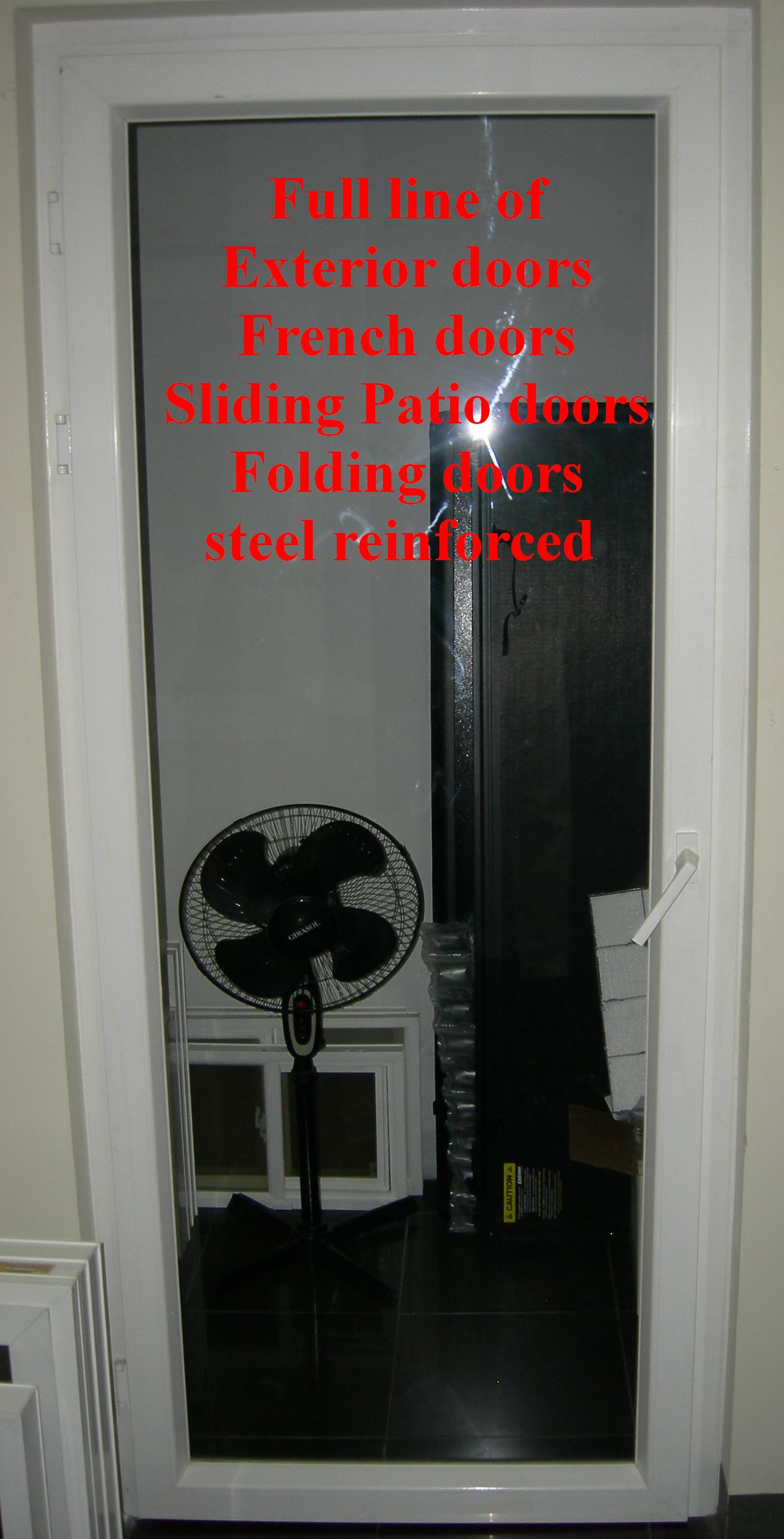 PVC and steel reinforced exterior door