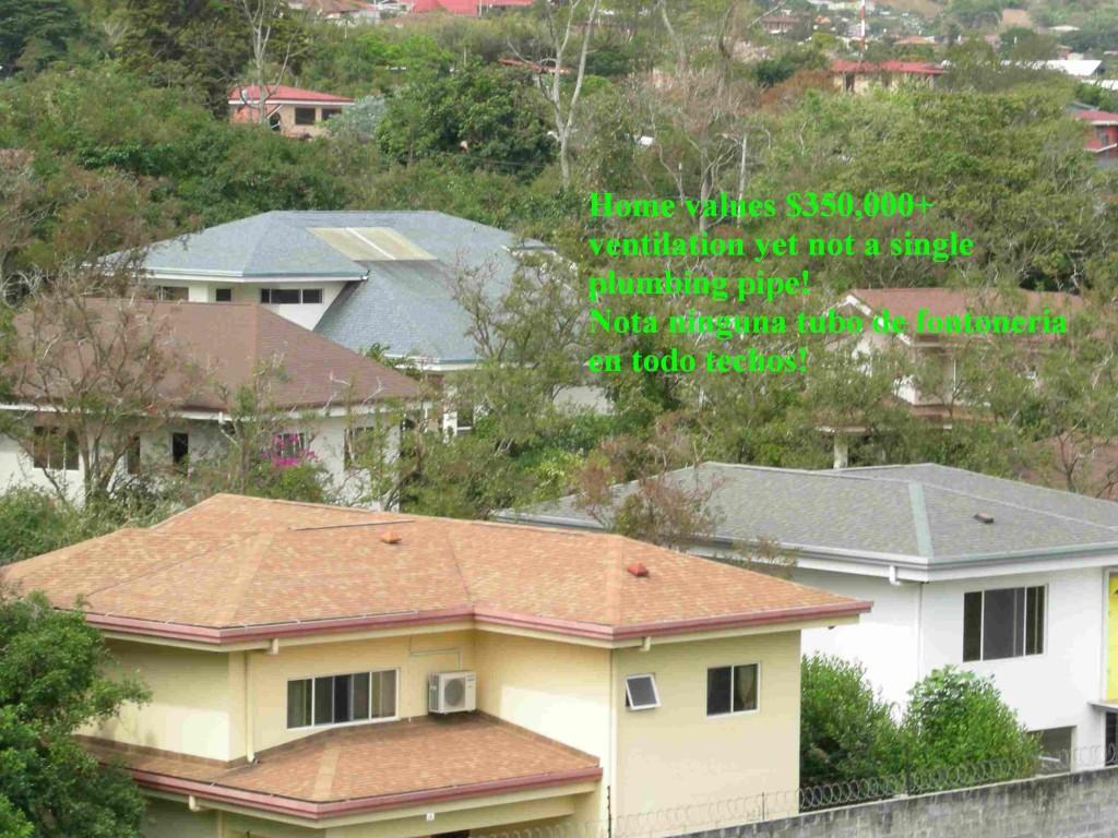 Whole project of shingled roofs with air vents but no plumbing vents to be seen. Entero proyecto de tejas asfaltico con ventilacion de aire pero no hay tubos de fontaneria, Montaña Paraiso, Escazu, Costa Rica