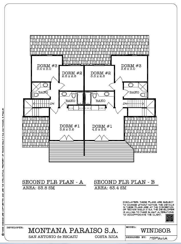 Windsor Second Floor Plan - Planta Ariba, Montaña Paraiso, Escazu Costa Rica