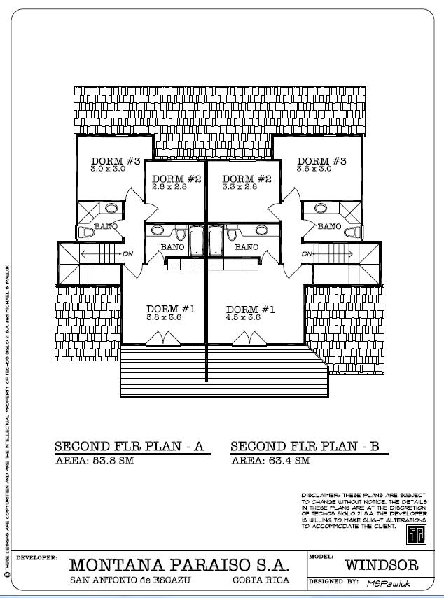 Windsor Second Floor Plan - Planta Ariba, Montaña Paraiso, Escazu Costa Rica
