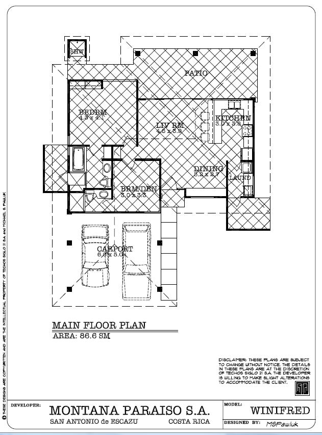 Winifred Main Floor Plan - Planta Principal, Montaña Paraiso