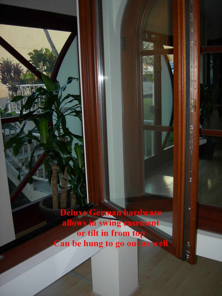 High quality wood windows with GU (German) hardware that allows three ways operation of the window and multi point locking system. Montaña Paraiso, Escazu, Costa Rica