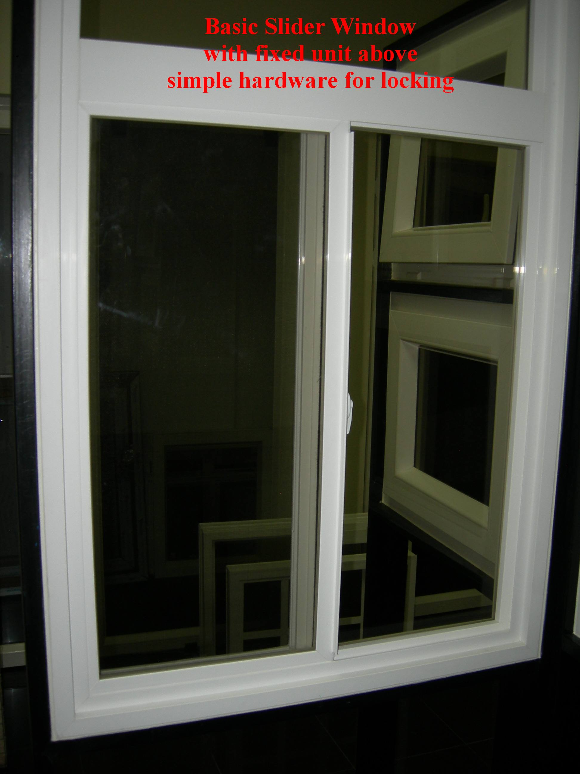 PVC slider window with transom above, slides with ease, most economical design, Montaña Paraiso, Escazu, Costa Rica
