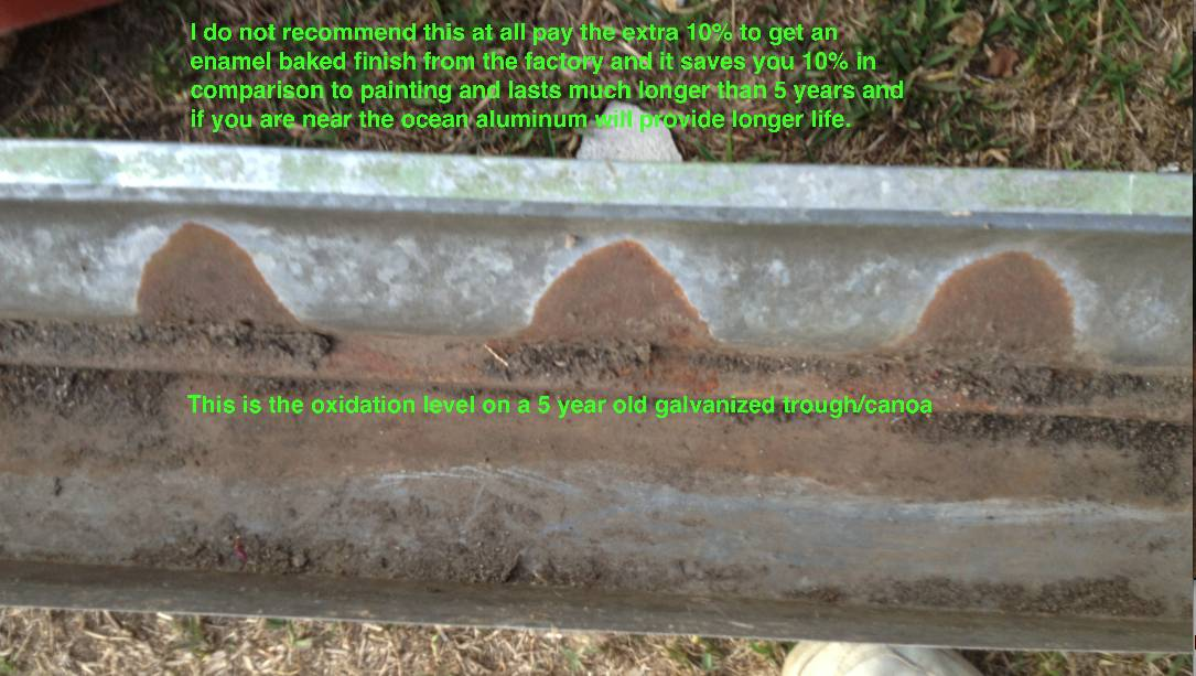 Trough or Canoa with 5 years of oxidation working on it - Stay away from galvanized