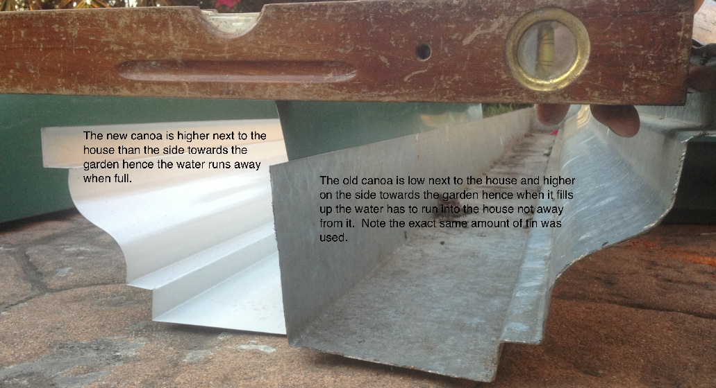 New Canoa or Trough made to protect your home versus the old that flooded the home.