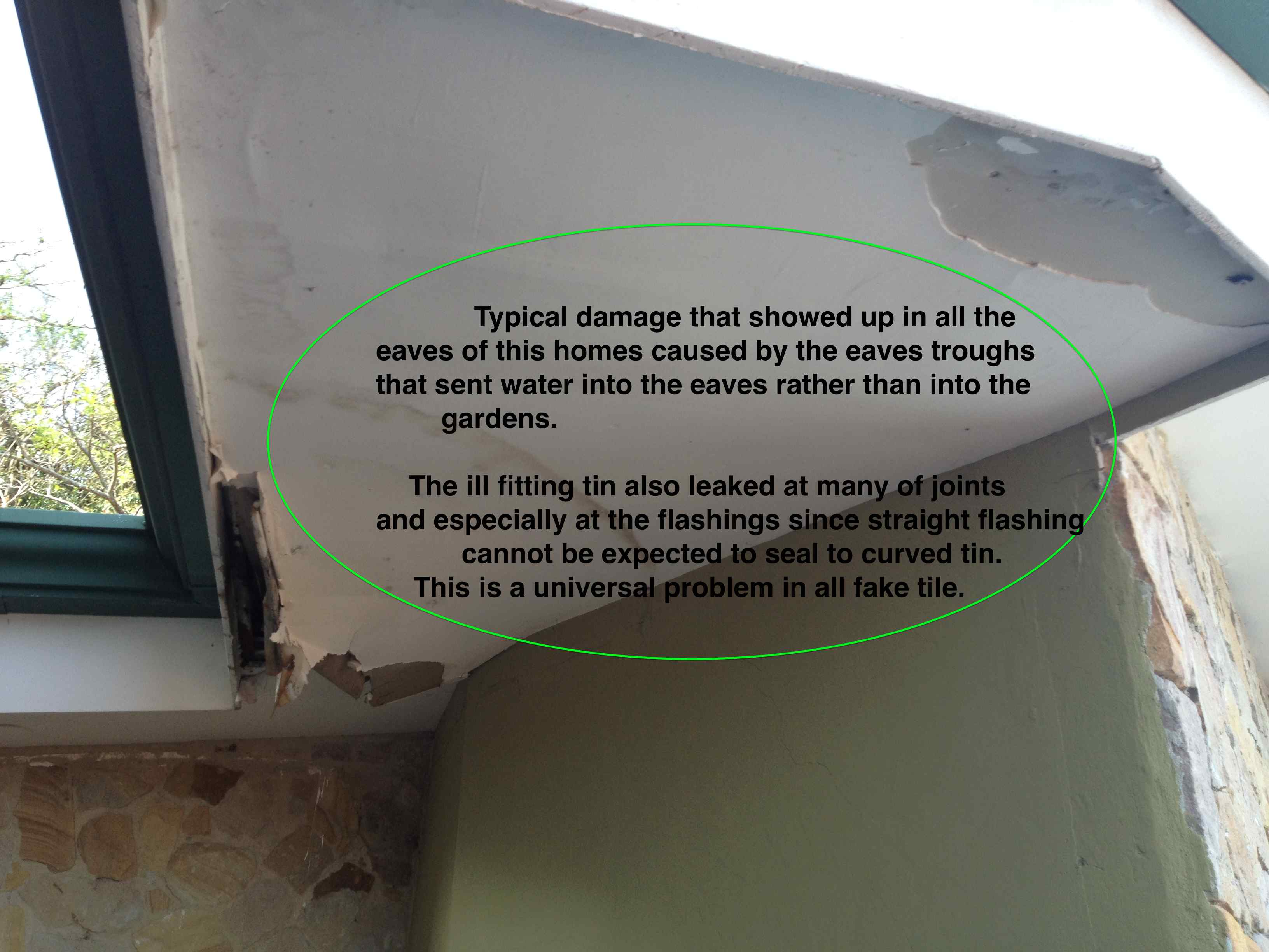 Soffit damage caused by frequent leaking from bad fitting Zinc Teja