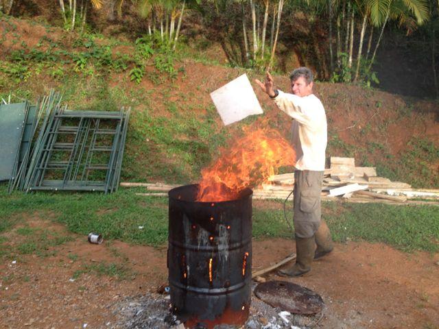 MgO into fire