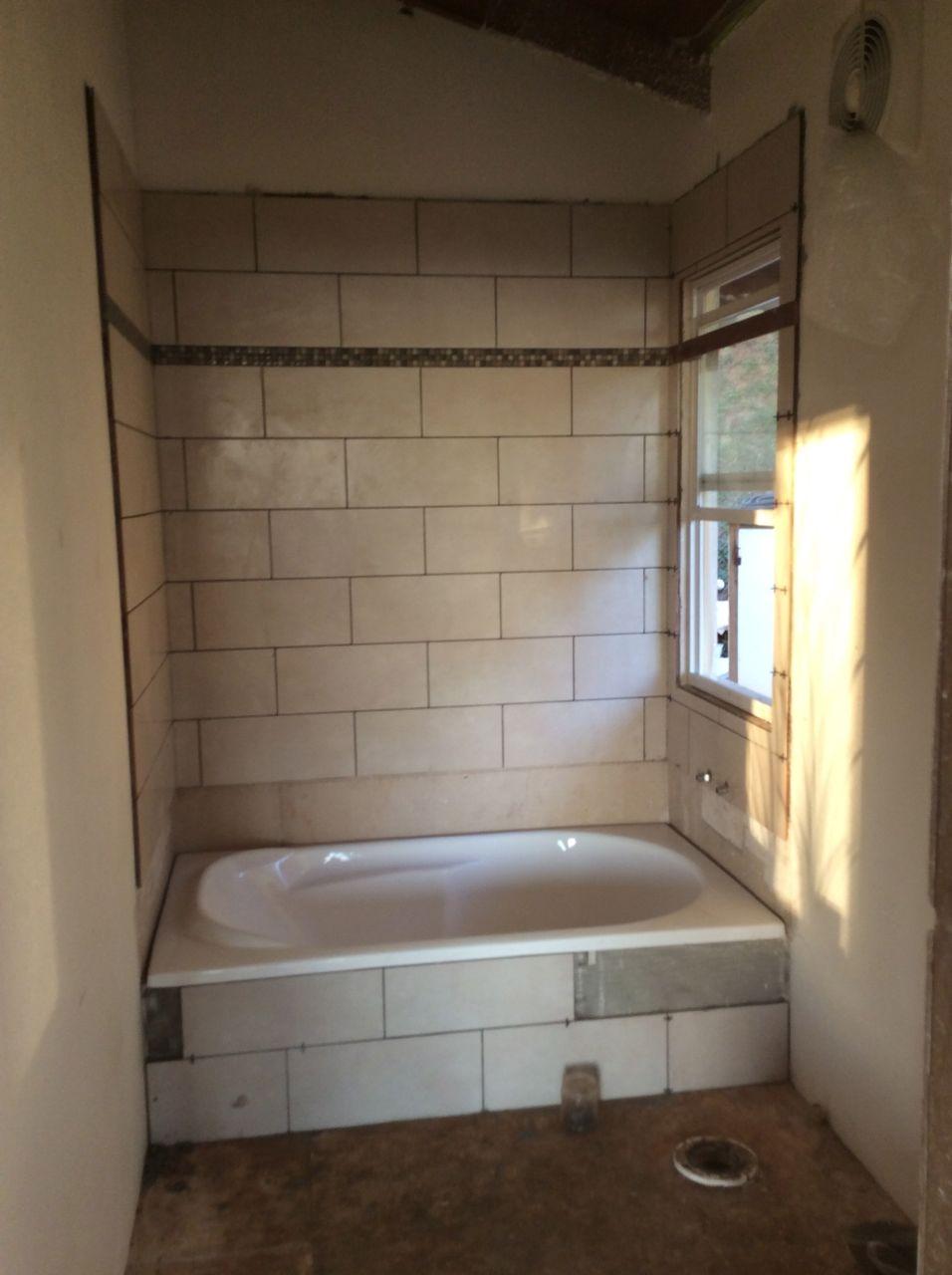 master bath tiled