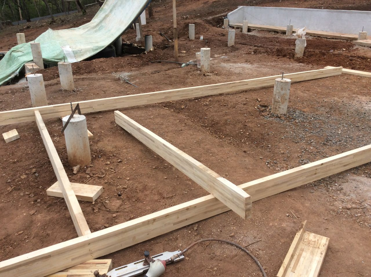 Asssembling joists sections on ground