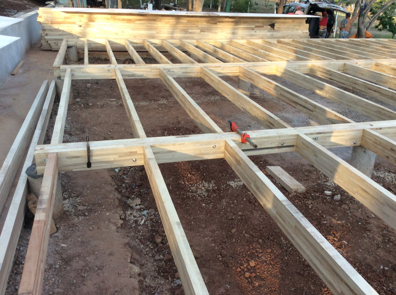 East side of joists completed