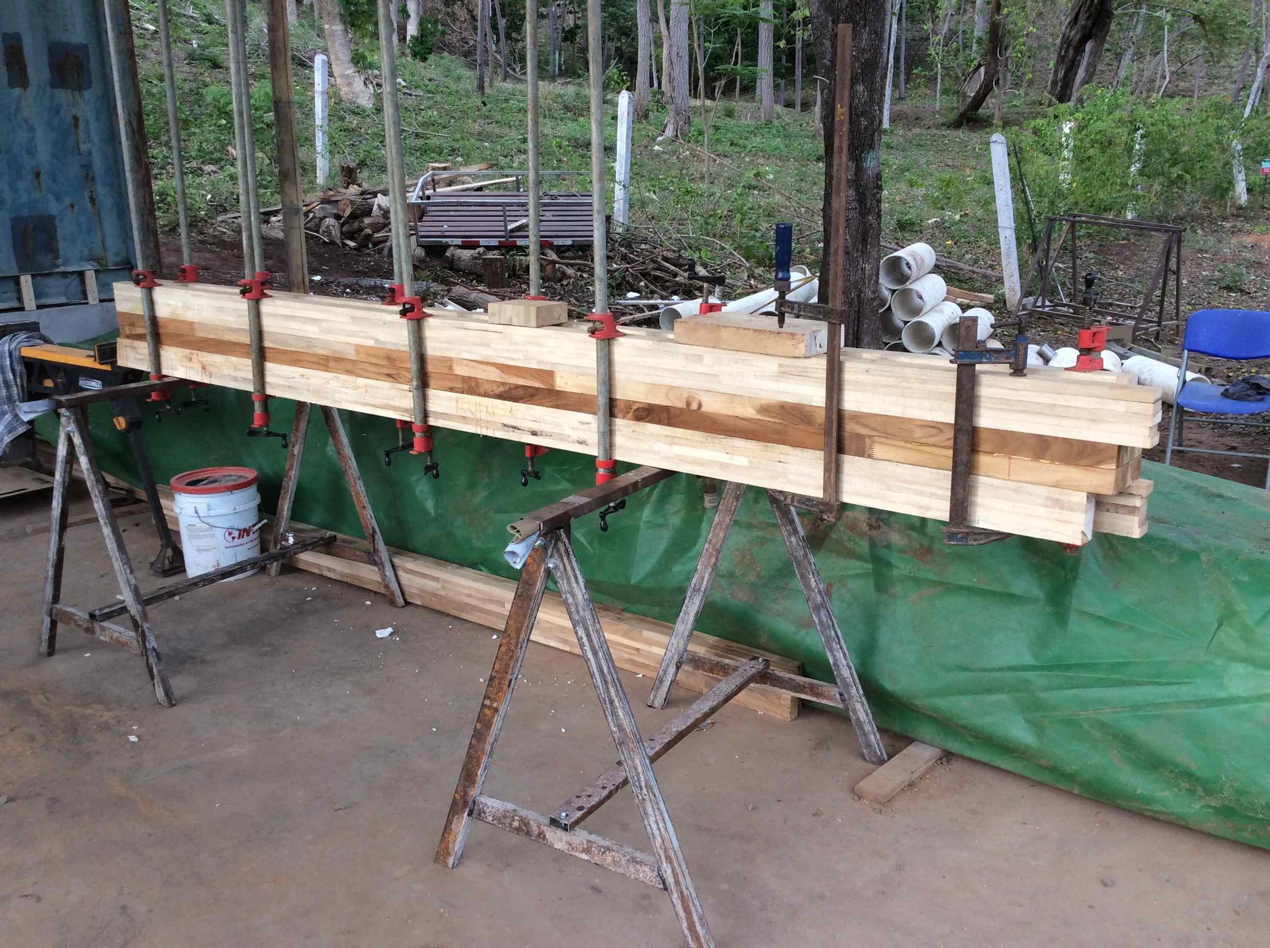 Post in clamps