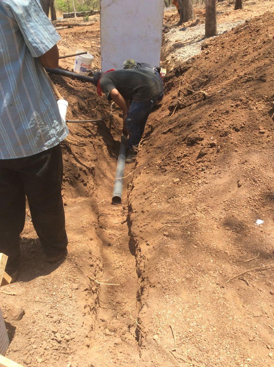 setting sewer line