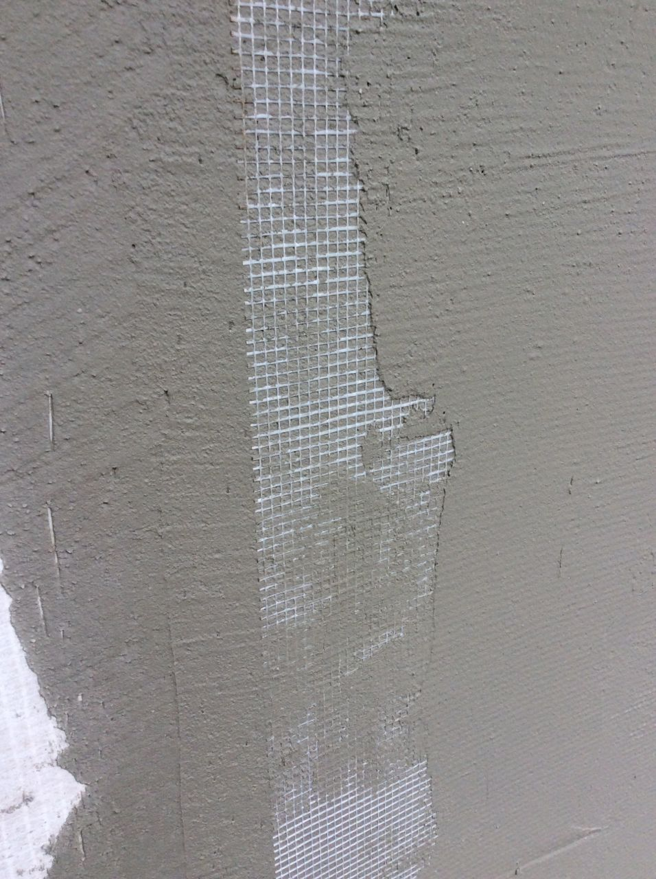 Mesh laid in stucco