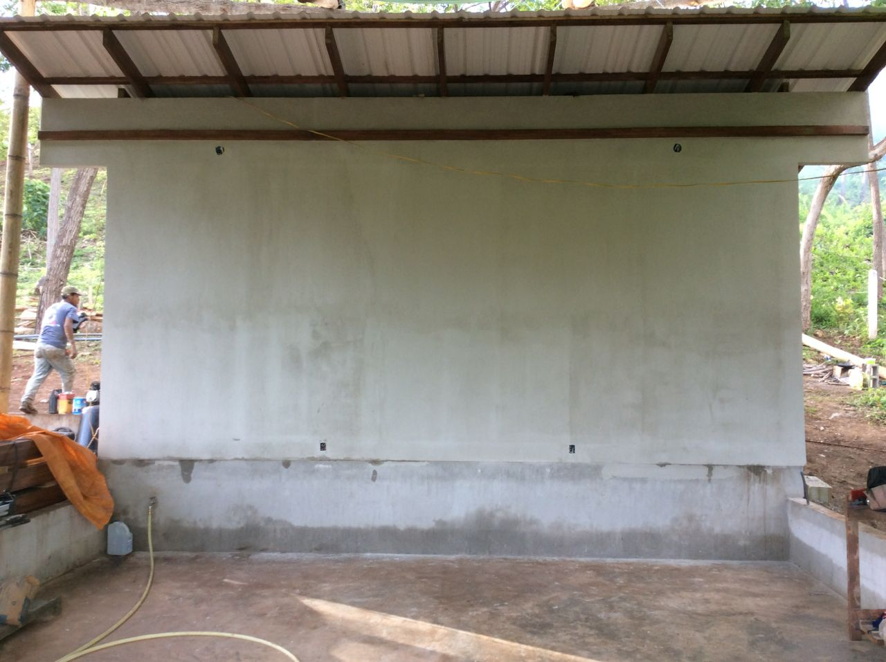 Stucco finish of carport