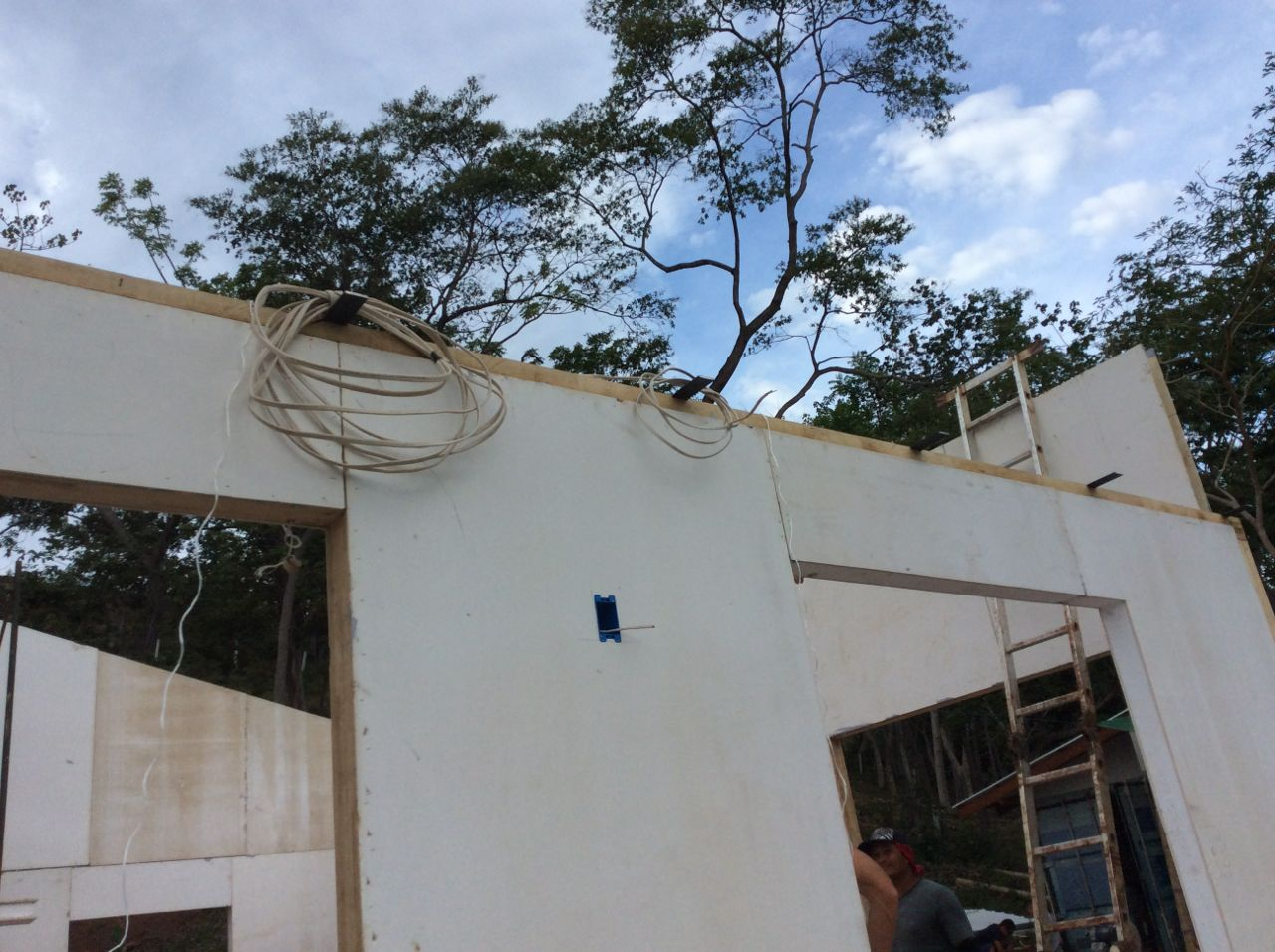 Electrical cable pulled first panel