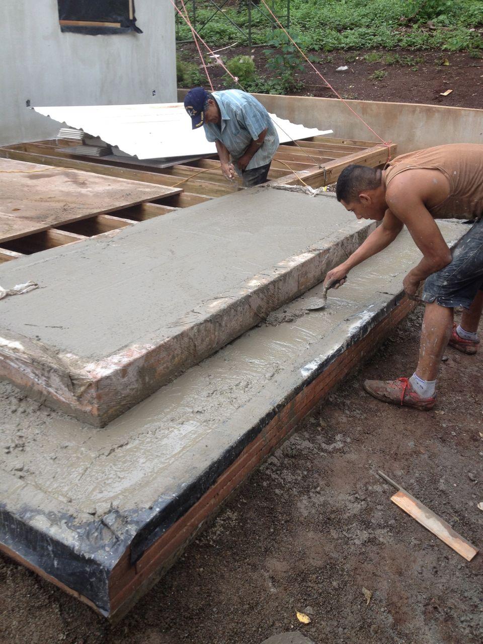 Concrete base of treads