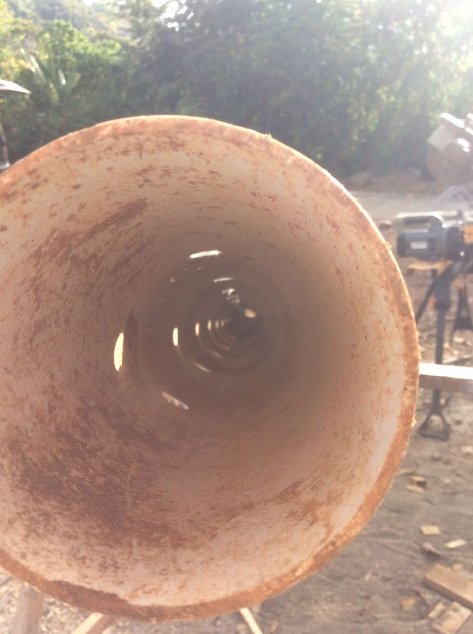 Inside of perforated pipe